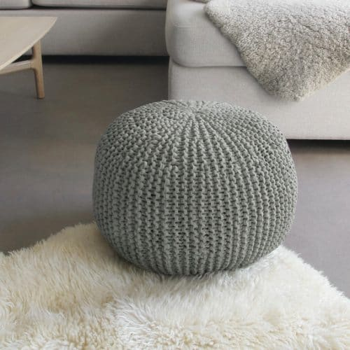 Kit DIY Je tricote mon pouf gris Phildar - The Funky Fresh Project