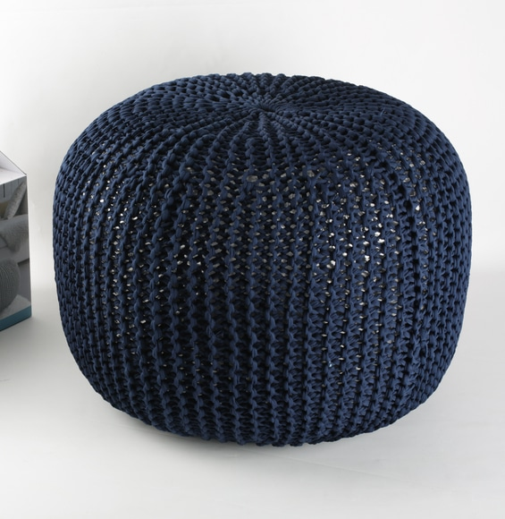 Kit DIY Je tricote mon pouf bleu marine Phildar - The Funky Fresh Project